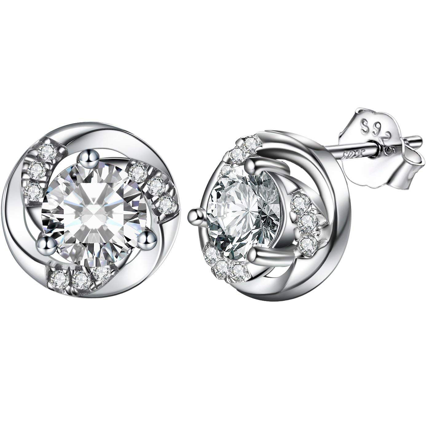 S925 Sterling Silver Fashion Personality Micro-Inlaid Zircon Vortex Earrings Jewelry Cross-Border Special