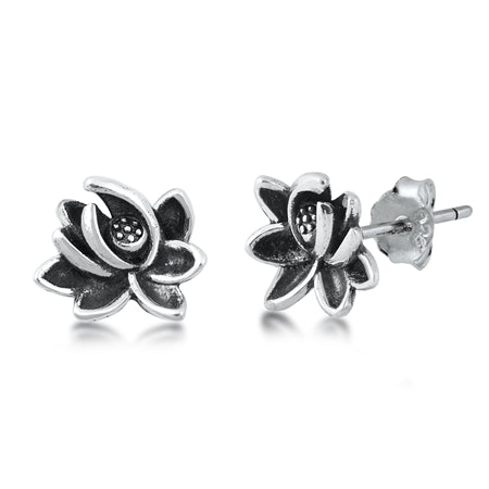 Silver Lotus Stud Earrings