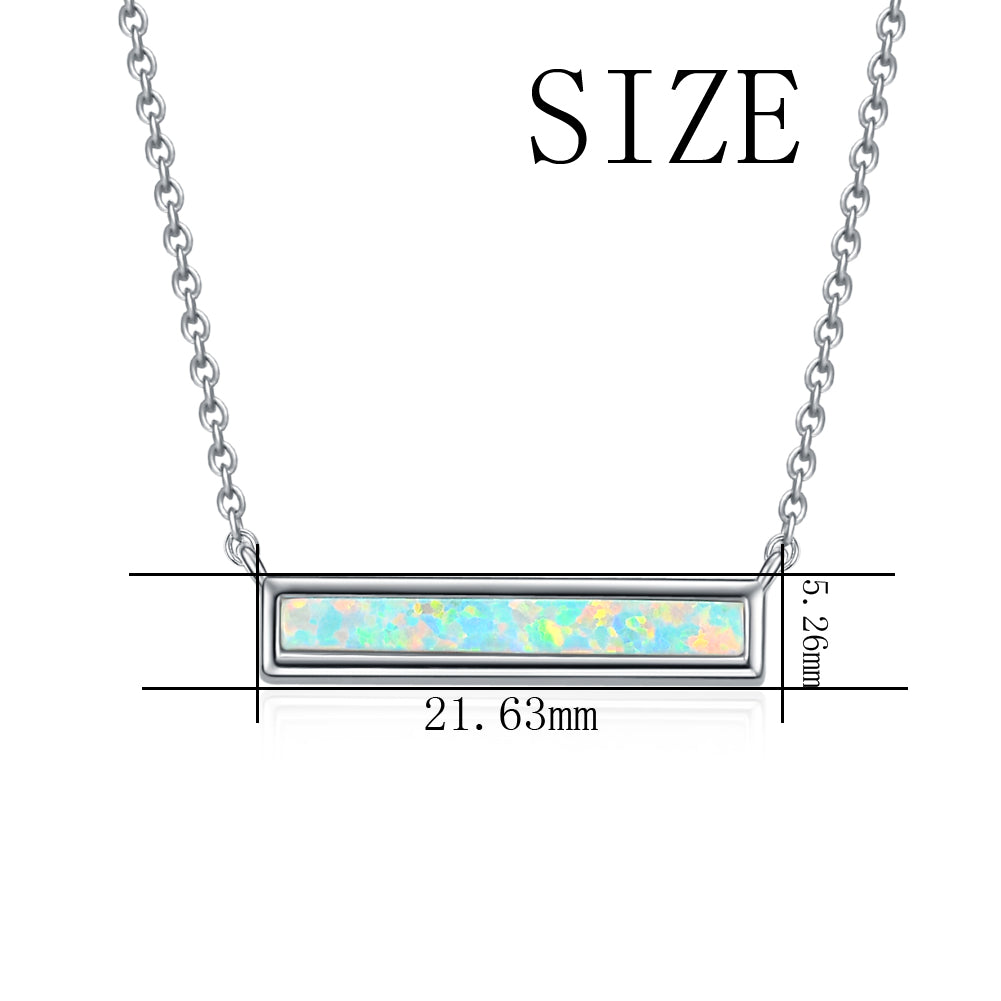 Trendy Jewelry Silver Opal Necklace, Gift Jewelry Custom Rectangle Jewelry for Women