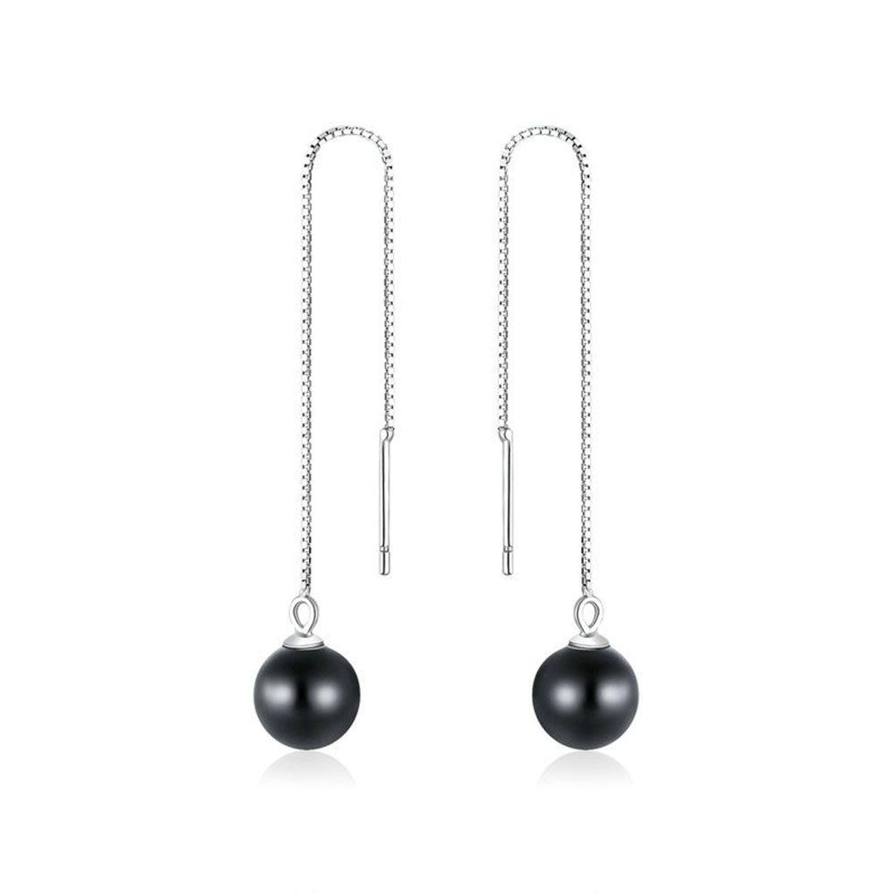 925 Sterling Silver Long Chain Round Black Stone Beads Dangle Earrings Precious Jewelry For Women