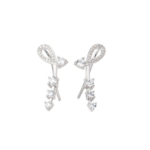 S925 Silver Earrings Korean Version Of The Light Luxury Long Temperament Simple