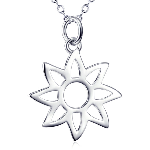 Natural Flower Shaped Necklace Customed 925 Sterling Silver For Gifts