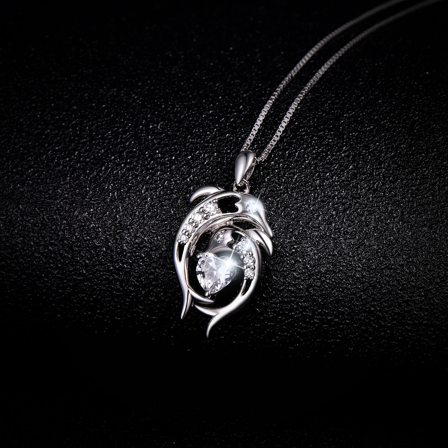 Cubic Zircoina 925 Sterling Silver Dolphin Shape Necklace Wholesale