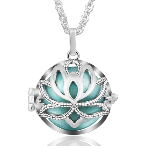 Necklace Yoga Lotus Music Bell Pendant Box Pendant Wishing Ball Harmony Bola Pregnancy 30 Inch Chain