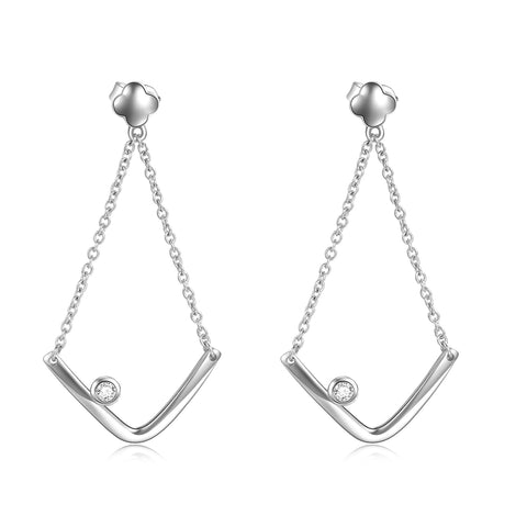 Geometric Earrings Drop Chain Triangle Shape Silver Fashionable Earrings