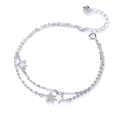 micro diamond double star bracelet