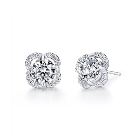 S925 Sterling Silver Gold Plated Flower Stud Earrings