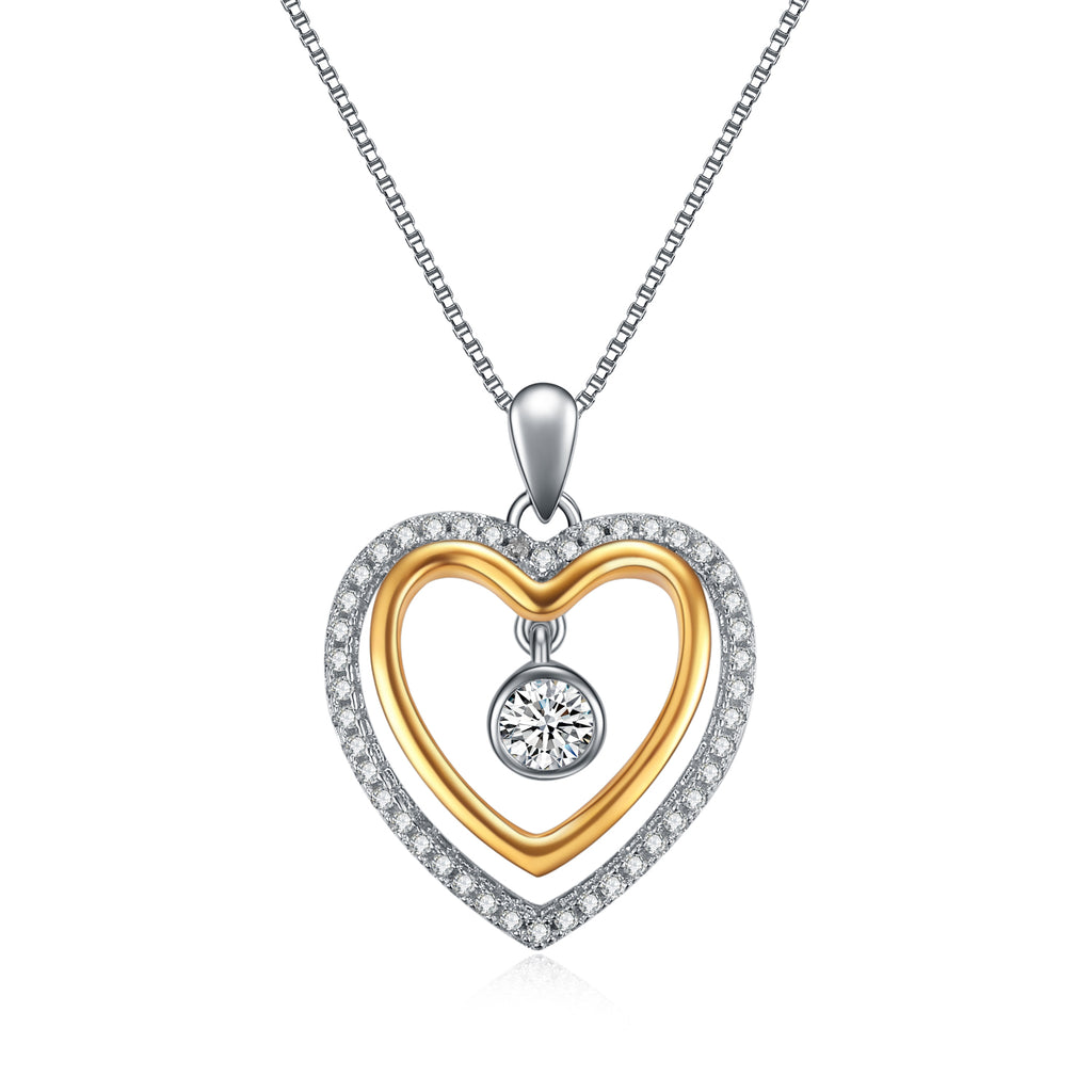 Rhodium And Gold Plating Double Heart Necklace with Small Cubic Zirconia
