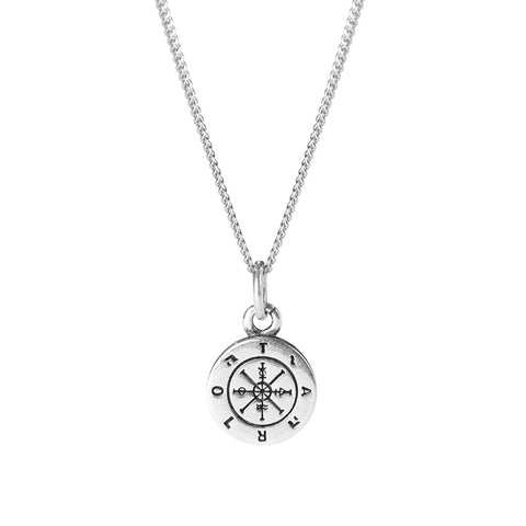 925 Sterling Silver Old Thai Silver Pendant Compass Design Necklace Compass Policy Clavicle Chain