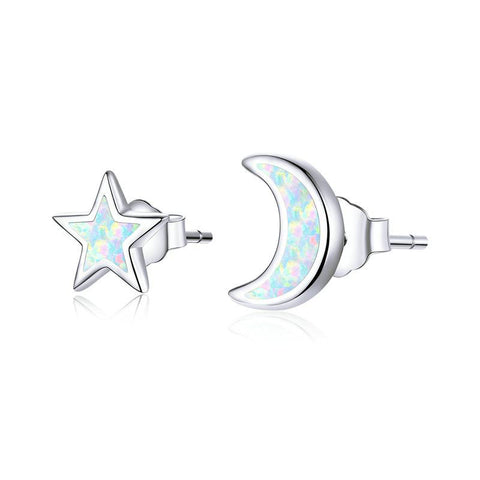 Open Moon and Star Stud Earrings