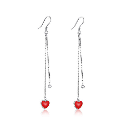 S925 Sterling Silver Fashion Ear Hook Little Red Heart Drop Earring Korean Earrings