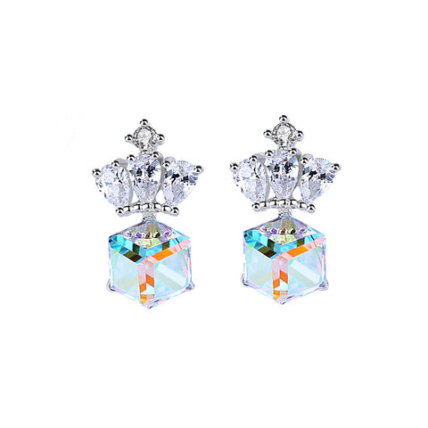crystal crown earrings