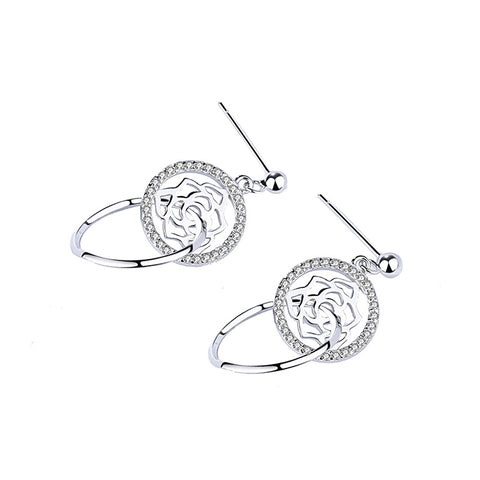 flower circle earrings