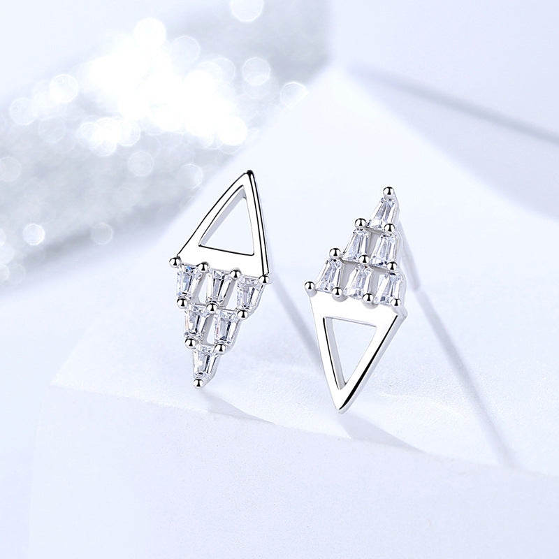 s925 sterling silver earrings Korean version of geometric earrings personalized triangle female