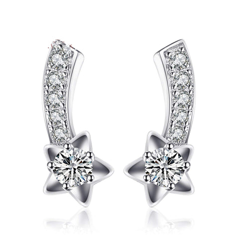 S925 Sterling Silver Korean Version Of The Micro-Inlaid Pop Earrings Jewelry Cross-Border Exclusive