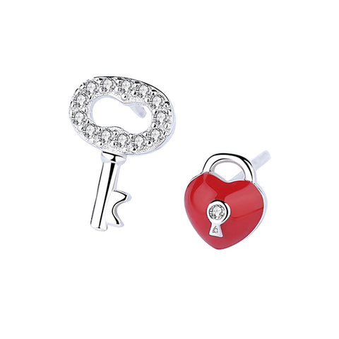 key lock asymmetric earrings