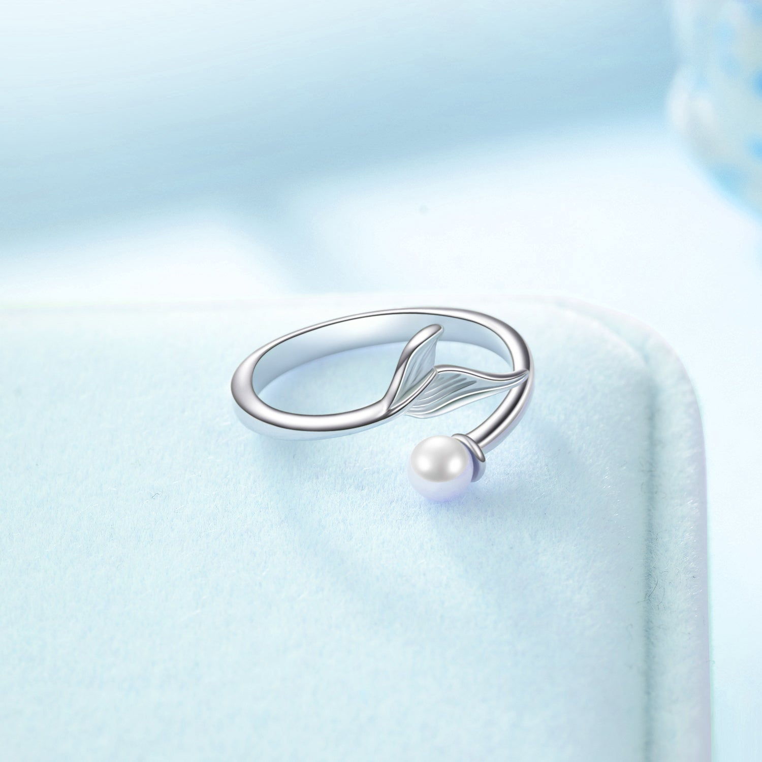 Fishtail Pearl Ring Animal Tail Jewelry Opening Rings Silver Design