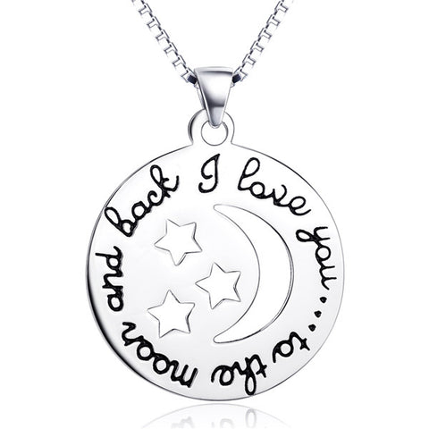 Disc Hollow Star And Moon Necklace Silver Words Engraved Necklace