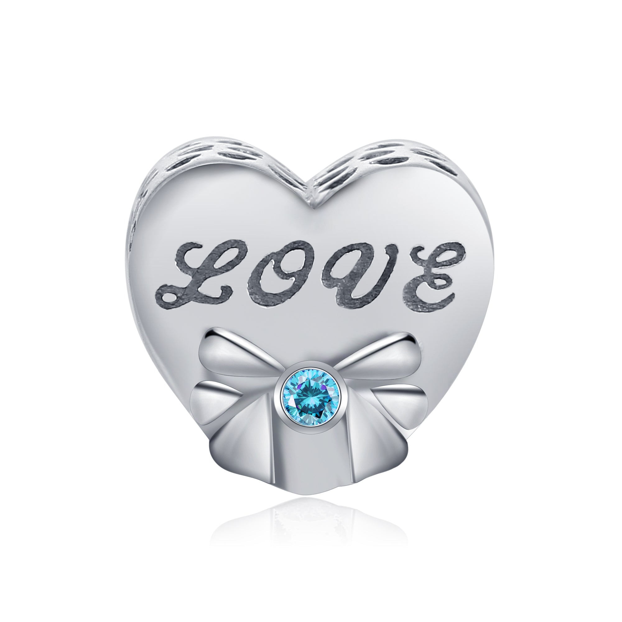 I Love You Charm Love Engraved Heart Shape Jewelry Silver Beads