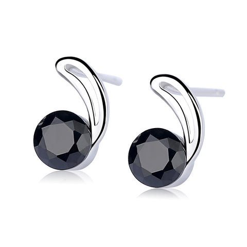 Black crystal stud earrings