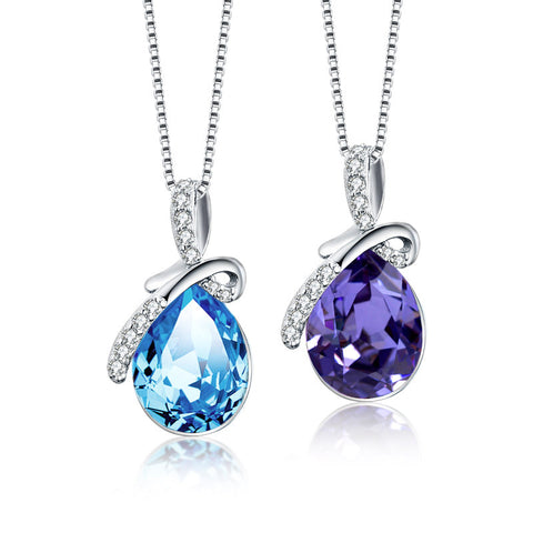 S925 Sterling Silver Blue Austrian Crystal Pendant Necklace