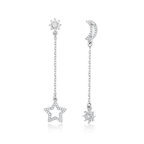 S925 Sterling Silver Star Moon Mythical Drop Stud Earrings