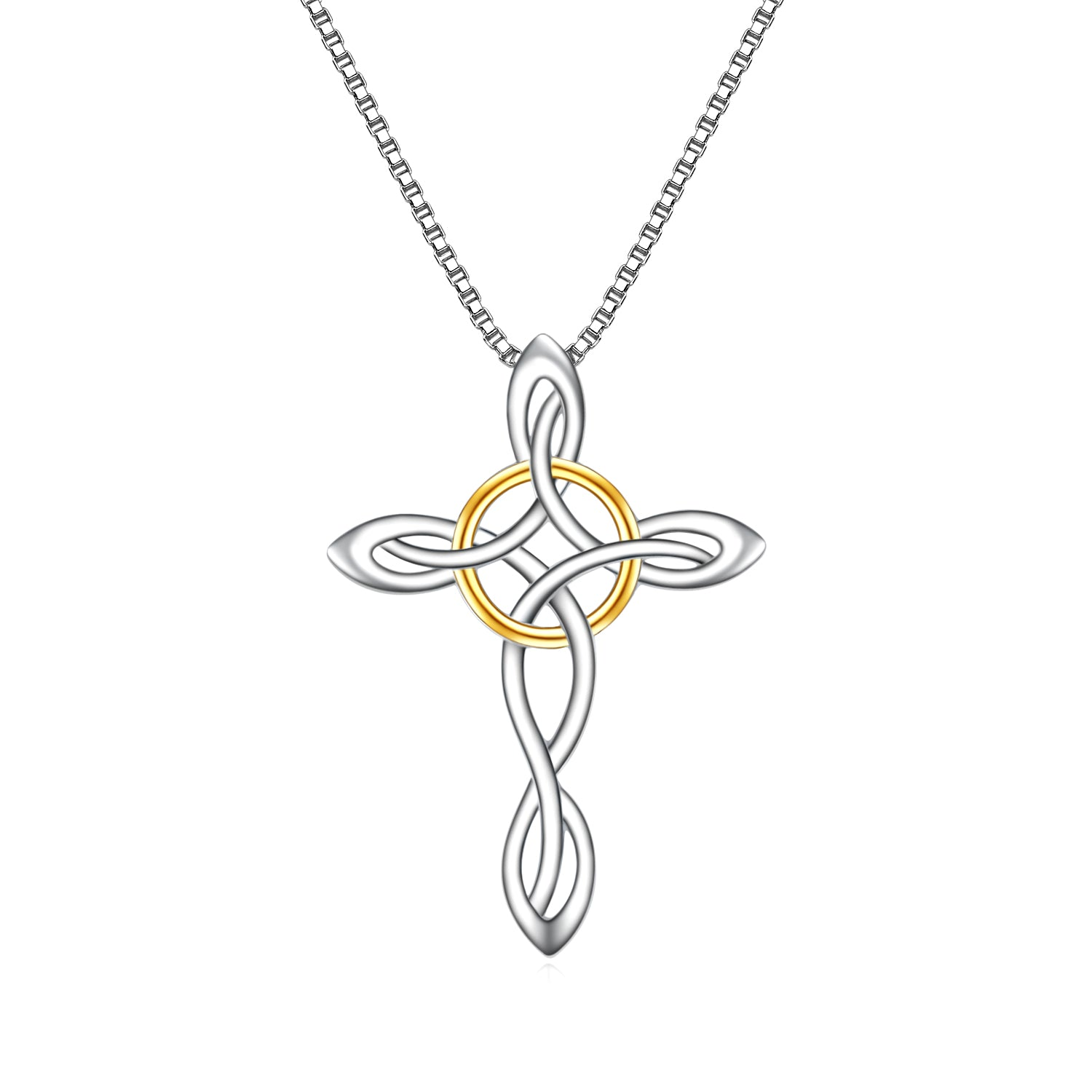 Celtic Knot Cross Necklace 925 Sterling Silver Jewelry Cross Pendant