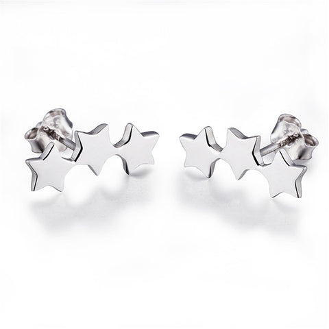 Three Star Linked Five Pointed Earrings Jewelry Bar Silver Earrings