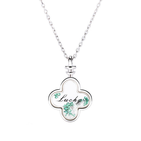 Synthetic Glass Letter Clover Necklace