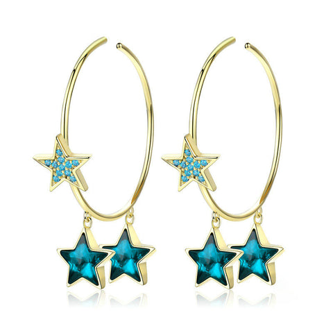 Crystal Blue Star Hoop Earrings