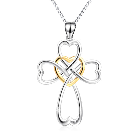 Heart Cross Necklace Women Wholesale Crystal Charm Pendant