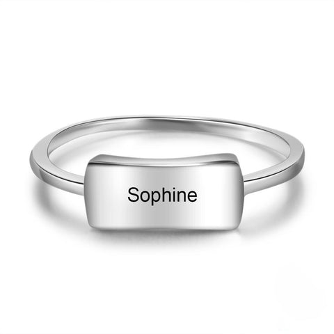 Personalized 925 Sterling Silver Engraved Bar Rings for Women Simple Style Custom Name Silver Ring Gift for Girls