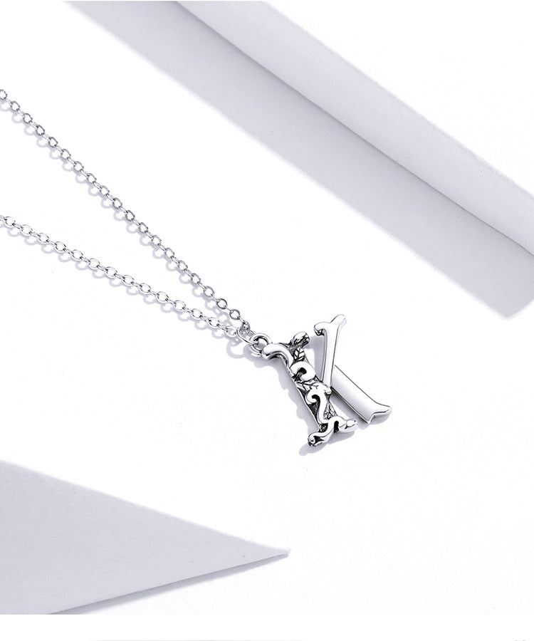 925 Sterling Silver Vintage Letter K Alphabet Pendant Necklace Fashion Jewelry For Women