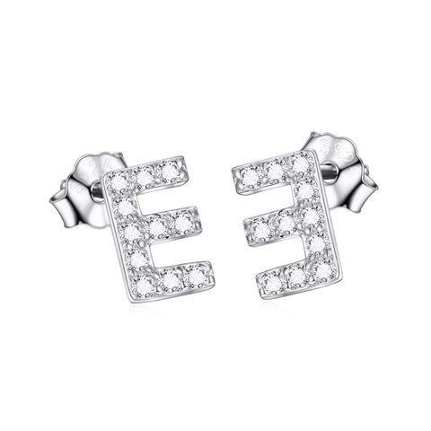 Letter E Earrings Alphabet Stud Cubic Zirconia Earrings Jewelry Design