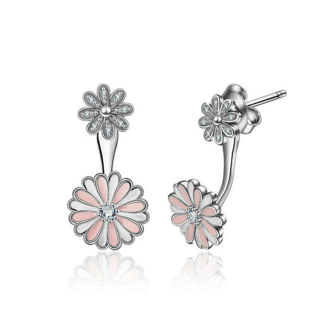 Chrysanthemum zircon S925 Sterling Silver Stud Earrings Hypoallergenic Creative Two-Way Wearing Ornaments  for Women