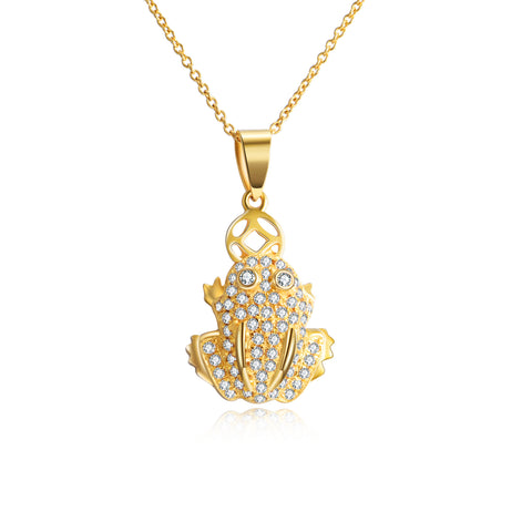 18K Gold European And American Fashion Creative Frog Zircon Necklace