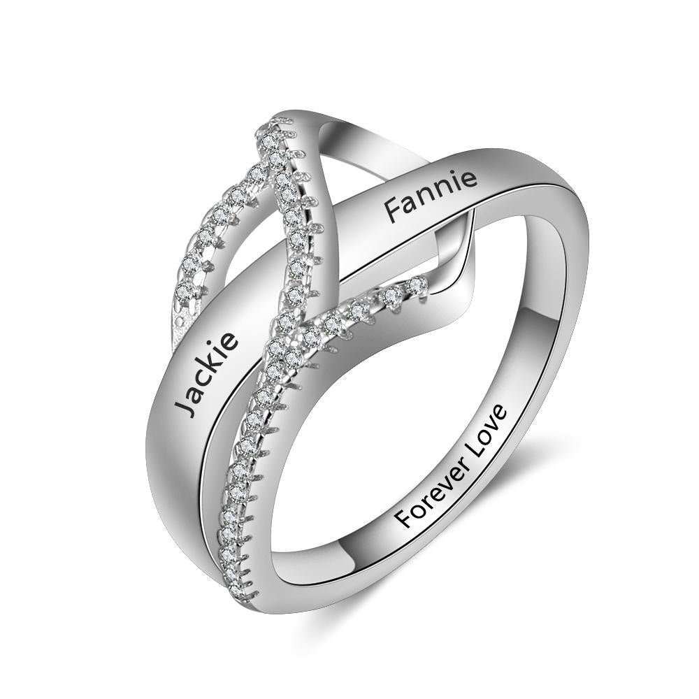 Surround Heart Design Personalized Gift Engraved Names Rings for Women Promise Love Anniversary Jewelry