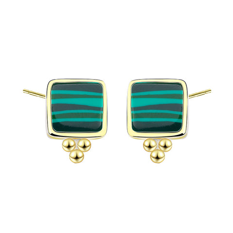 European And American Fashion Design Earrings S925 Pure Silver Earrings Temperament Malachite