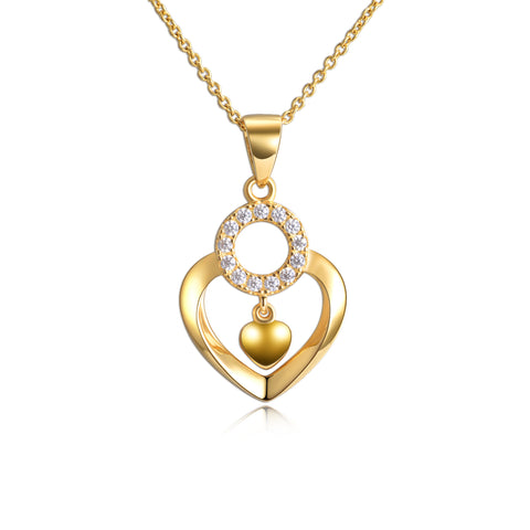 18K Gold European And American Fashion Heart-Shaped Round Zircon Necklace