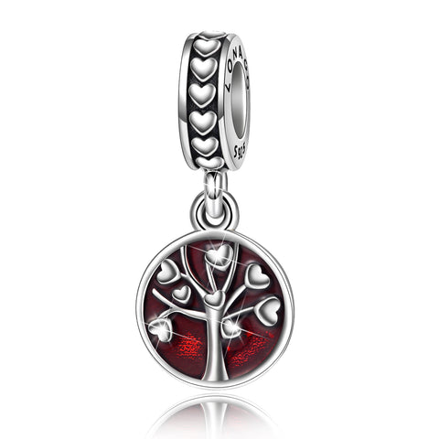 Red Enamel Life Tree Beads Charms Silver 925 Sterling Jewelry Beads