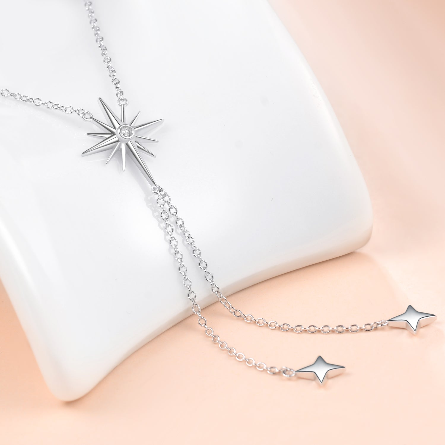 High Quality Cubic Zircon Pendant Tassel Necklace Wholesale 925 Sterling Silver
