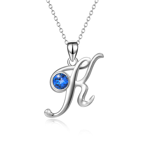 Wholesale Silver Charm Blue Cubic Zirconia Jewelry Women's Letter K Necklace