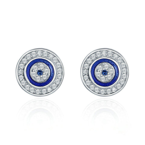 Blue Eye Round Stud Earrings