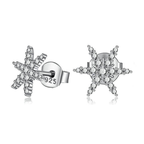 Crystal Snowflake Stud Earrings S925 Sterling Silver Earrings Simple Temperament Hypoallergenic Jewelry