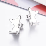 Chihuahua Stud Earrings Dog Silver Animal Shape Engraved Earrings