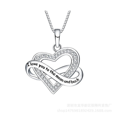 S925 Sterling Silver Personality Love Ribbon Necklace Female Jewelry Clavicle Chain Pendant Cross-Border Special