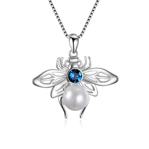 Pearl Bee Necklace for Women Bee Animal Shape Jewelry Silver Necklace