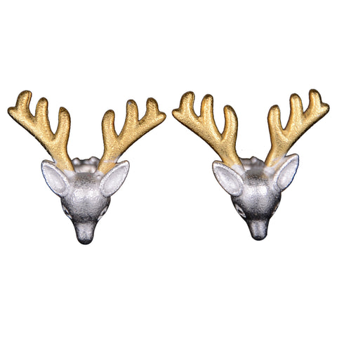 Elk color separation plating Christmas design new earrings