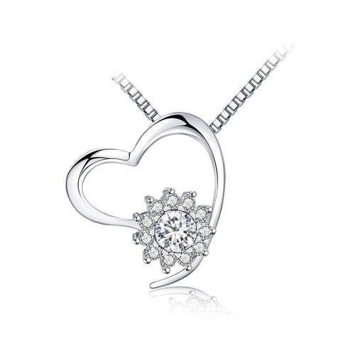 S925 Sterling Silver Creative Micro-Inlaid Sun Flower Diamond Love Pendant Necklace Female Jewelry Cross-Border Exclusive