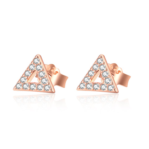 Fashion Jewelry Manufacturer Geometric Triangle Rose Gold Color Earrings